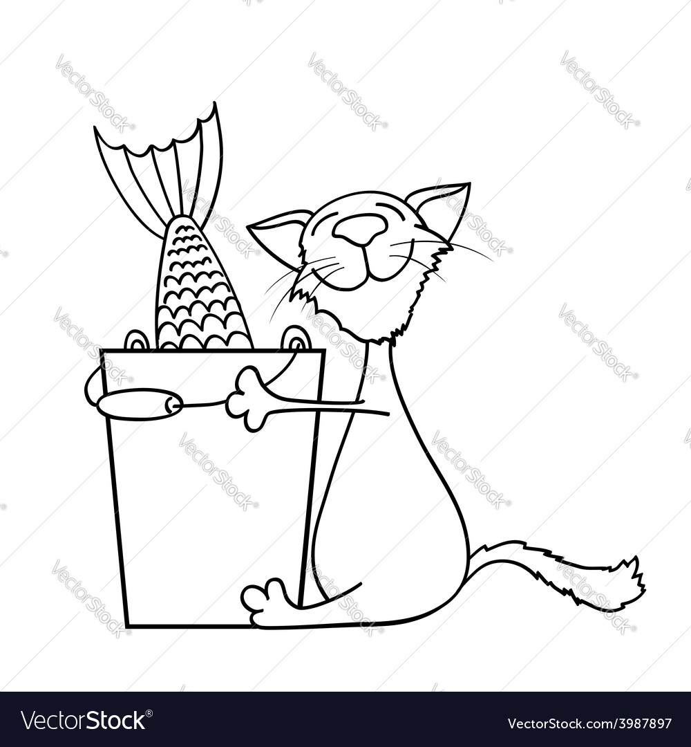 Cat hugging a bucket of fish vector | Price: 1 Credit (USD $1)