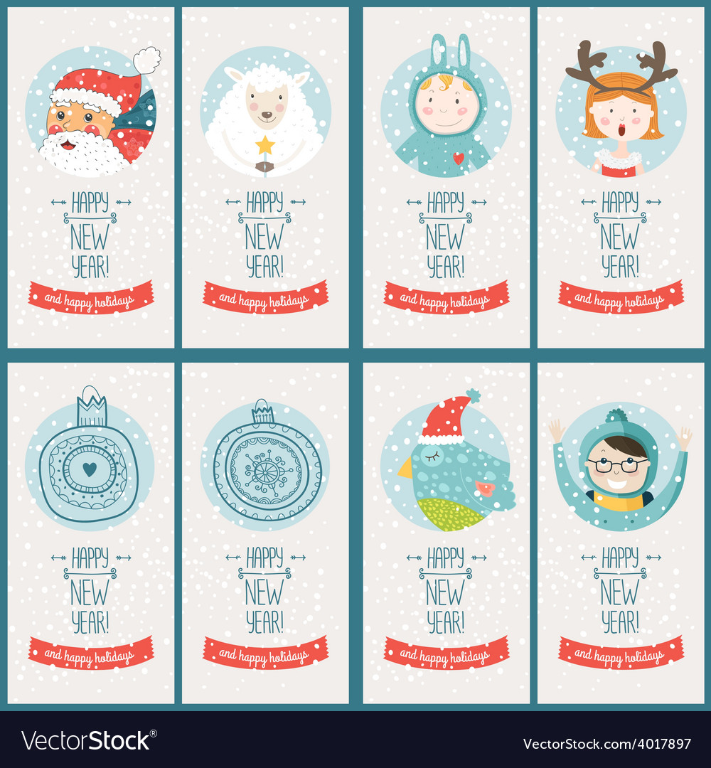 Christmas cards collection vector | Price: 1 Credit (USD $1)