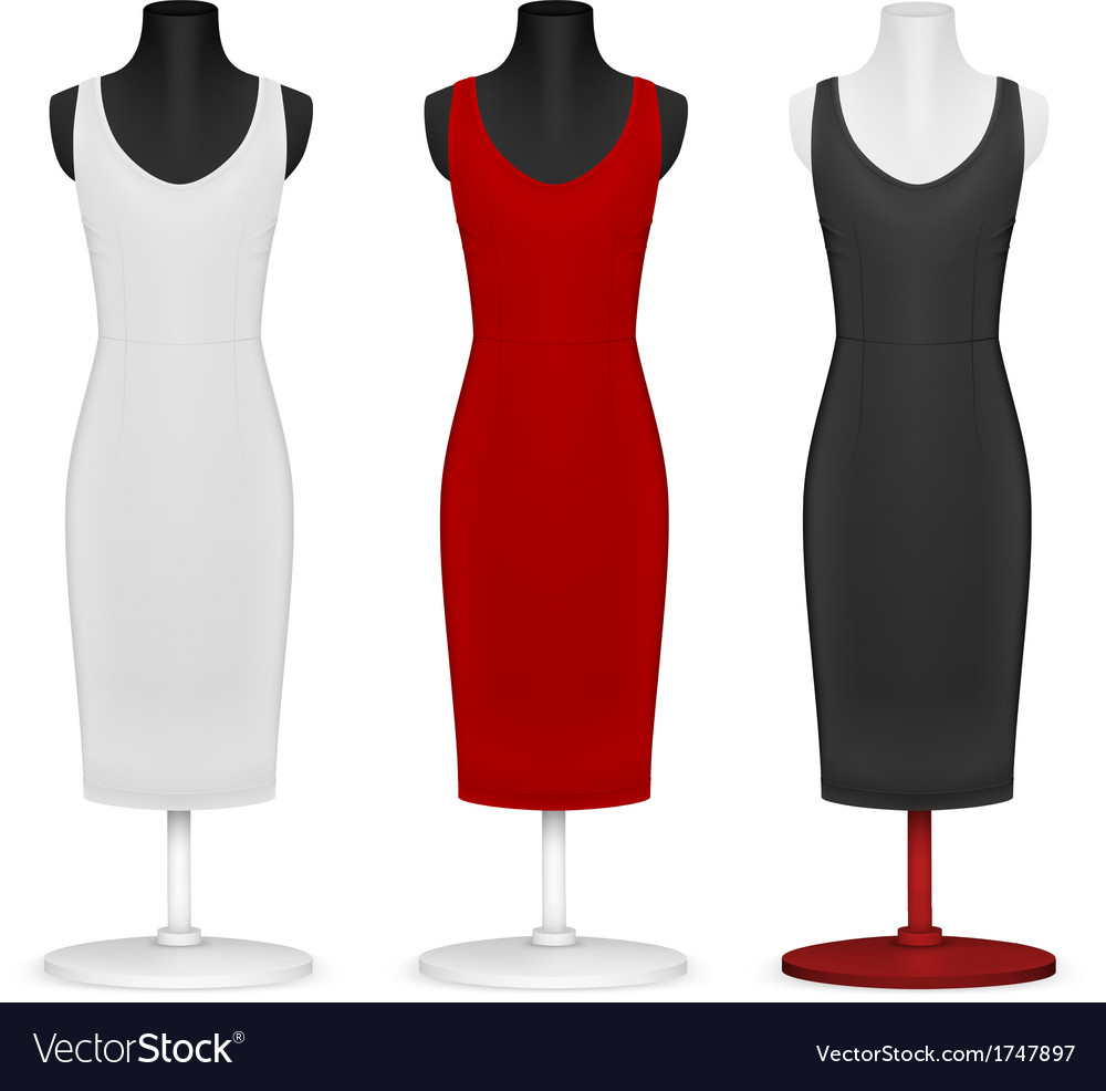 Classic women plain dress template vector | Price: 1 Credit (USD $1)