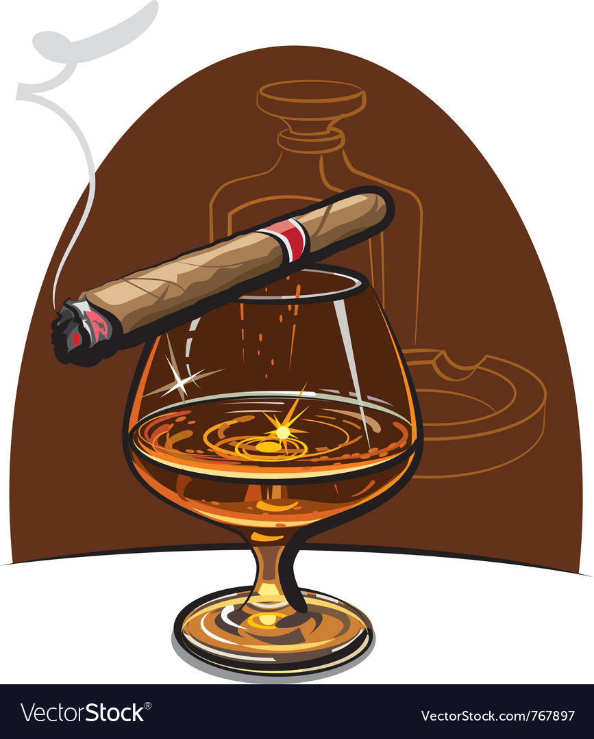 Cognac and cigar vector | Price: 3 Credit (USD $3)