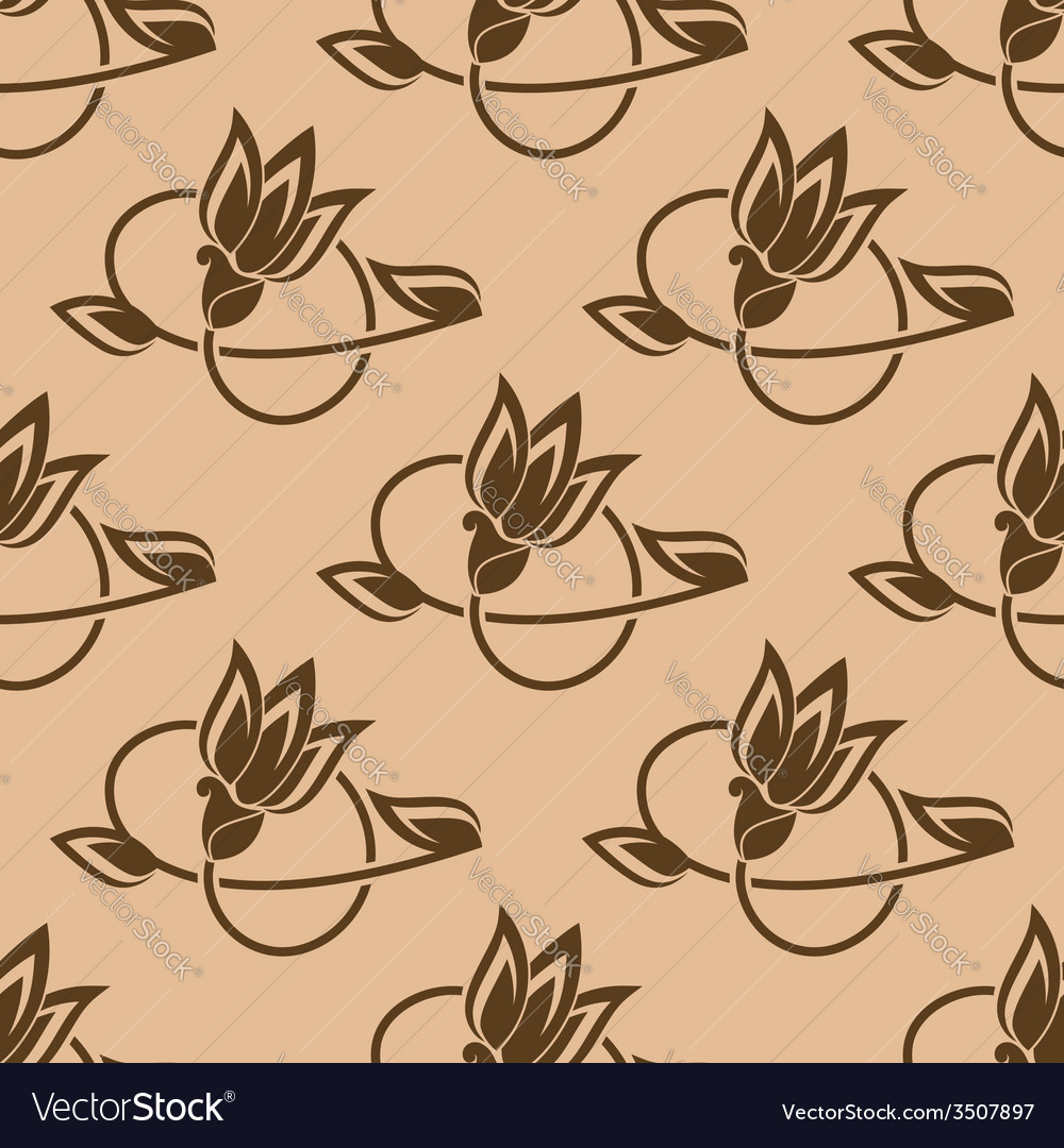 Flower buds seamless pattern vector | Price: 1 Credit (USD $1)