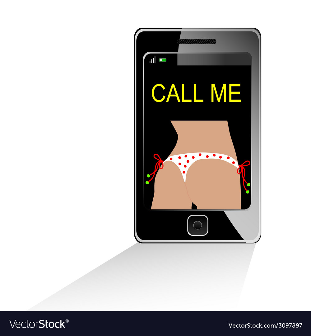 Girl in white bikini on mobile phone vector | Price: 1 Credit (USD $1)