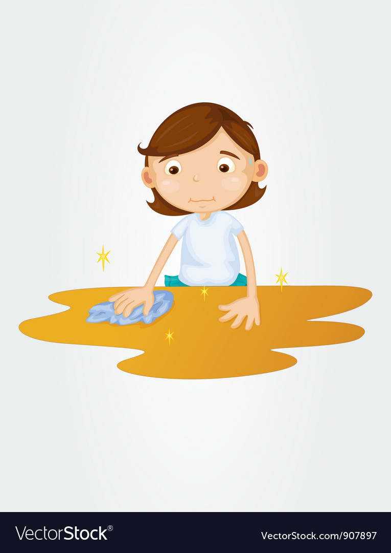Girl wiping table on white vector | Price: 3 Credit (USD $3)