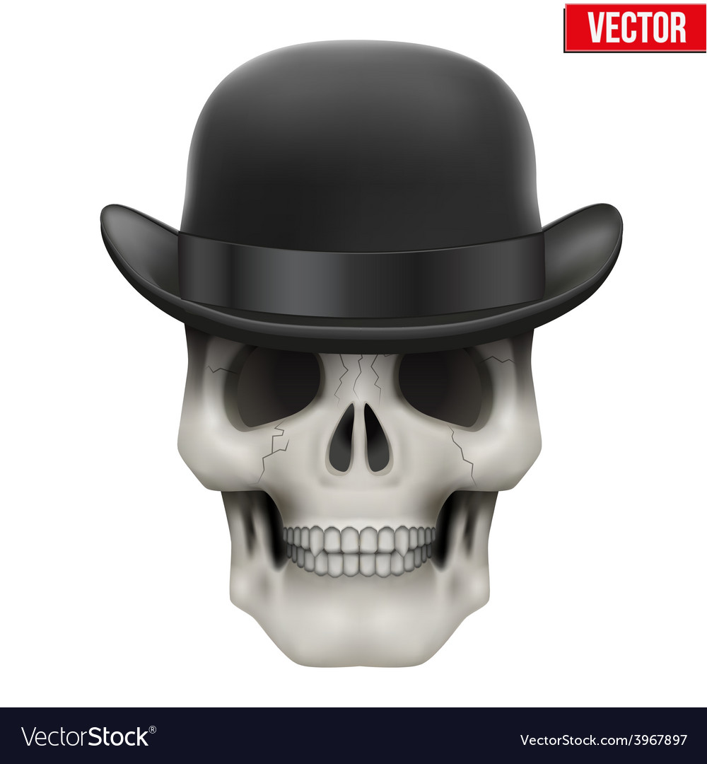 Human skull with black bowler hat vector | Price: 1 Credit (USD $1)