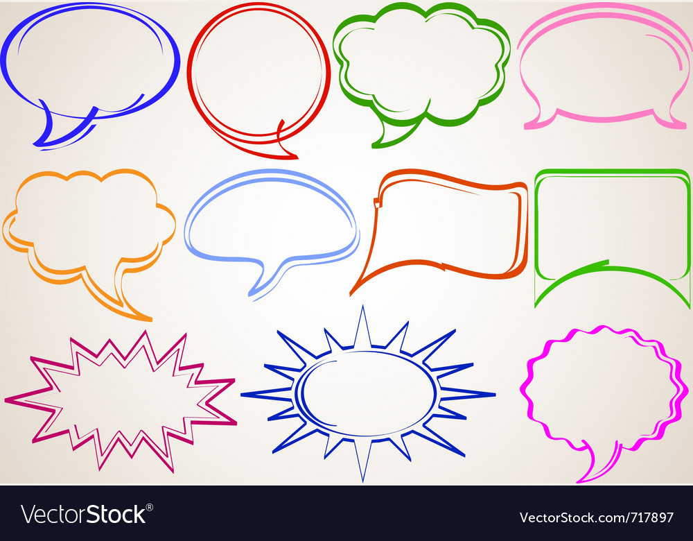 Multicolor hand-drawn talking bubbles comic book s vector | Price: 1 Credit (USD $1)