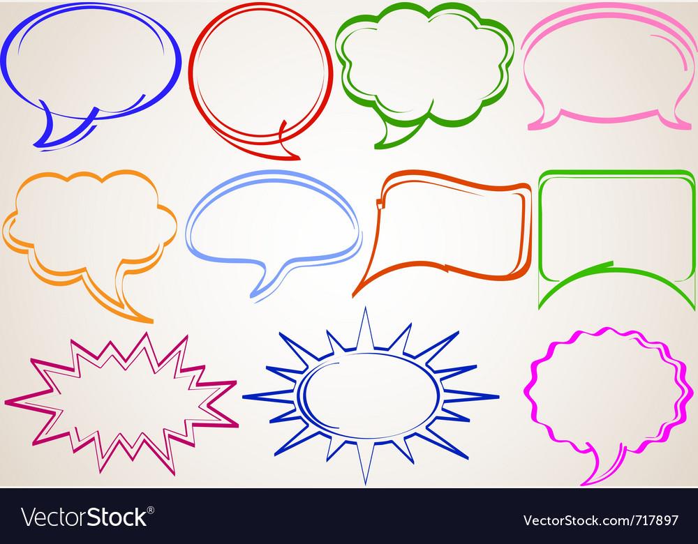 Multicolor hand-drawn talking bubbles comic book s vector | Price: 1 Credit (USD $1)
