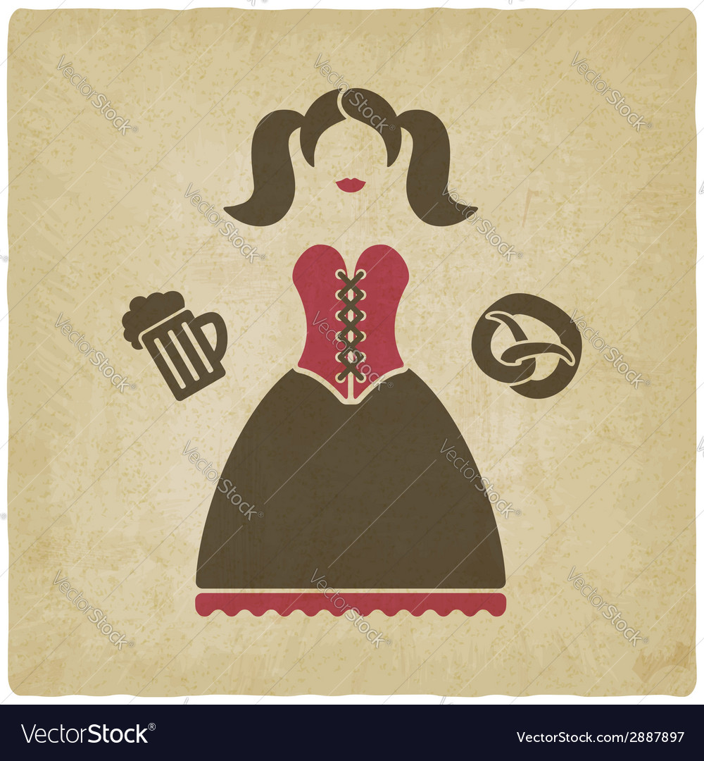 Oktoberfest girl with beer mug and pretzel vector | Price: 1 Credit (USD $1)