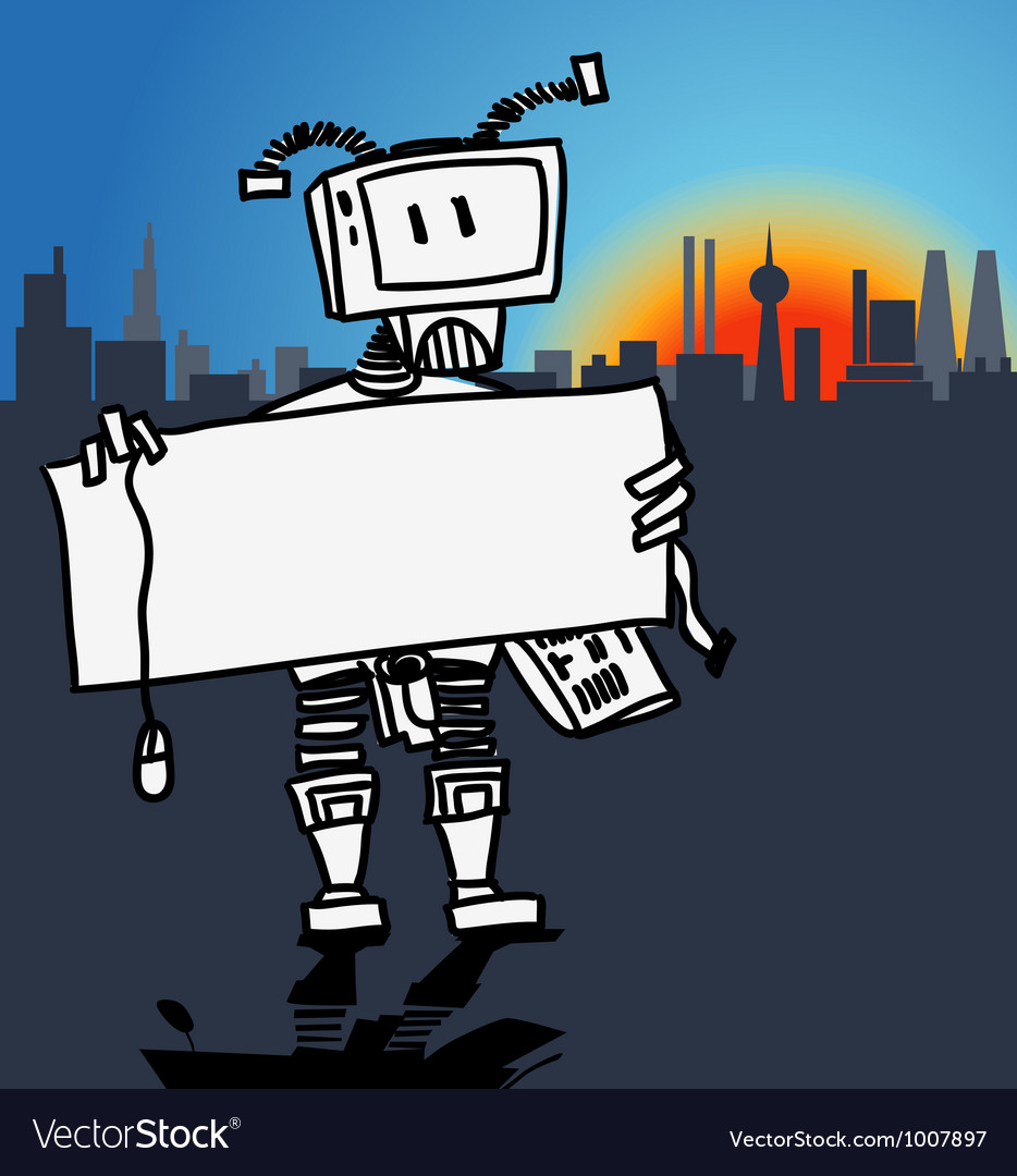 Robot holding a blank information board vector | Price: 1 Credit (USD $1)