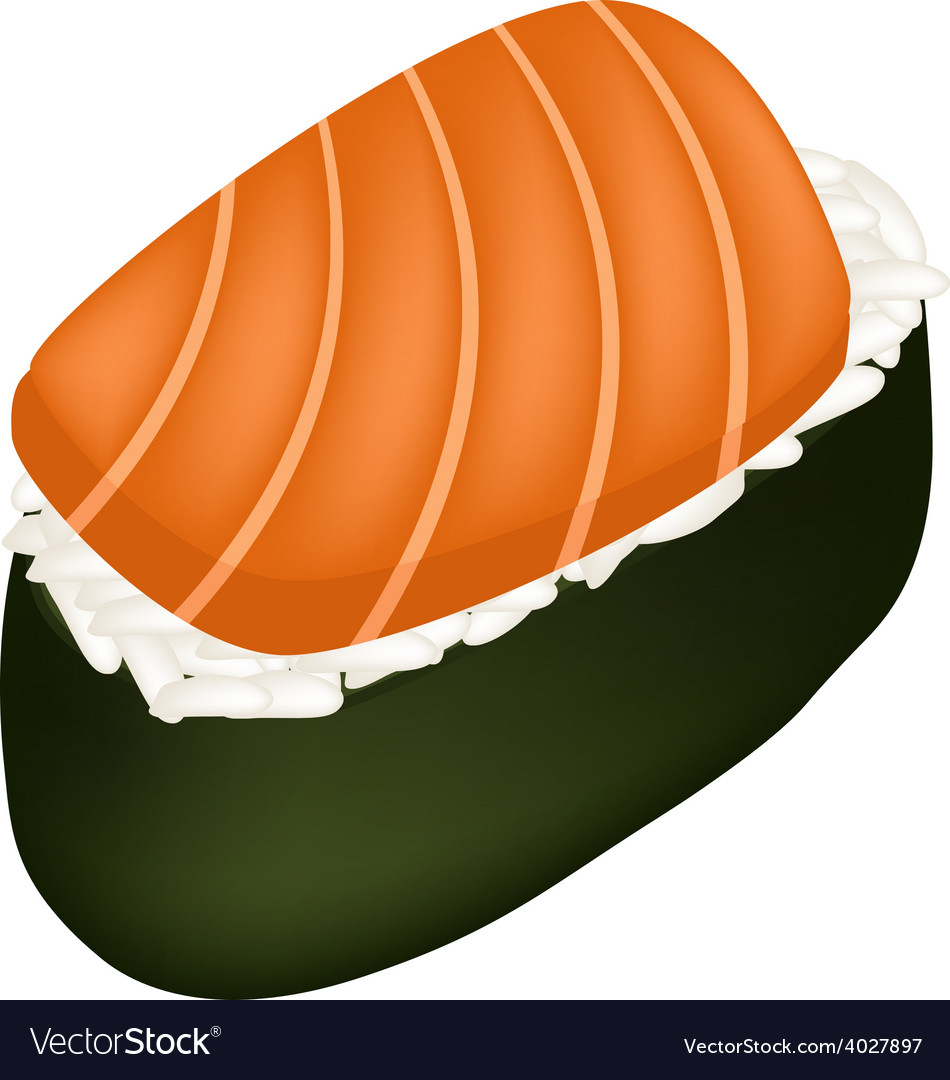 Salmon sushi or salmon nigiri isolated on white vector | Price: 1 Credit (USD $1)