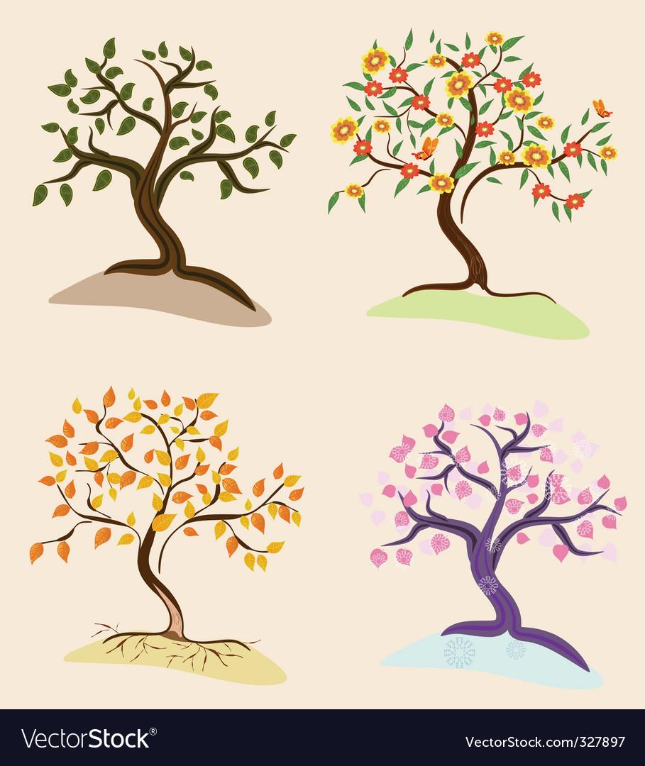 Trees seasons vector | Price: 1 Credit (USD $1)
