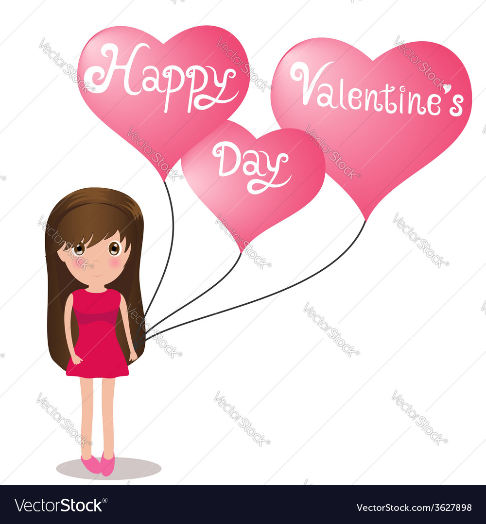 Cute girl happy valentine day holding balloons vector | Price: 1 Credit (USD $1)