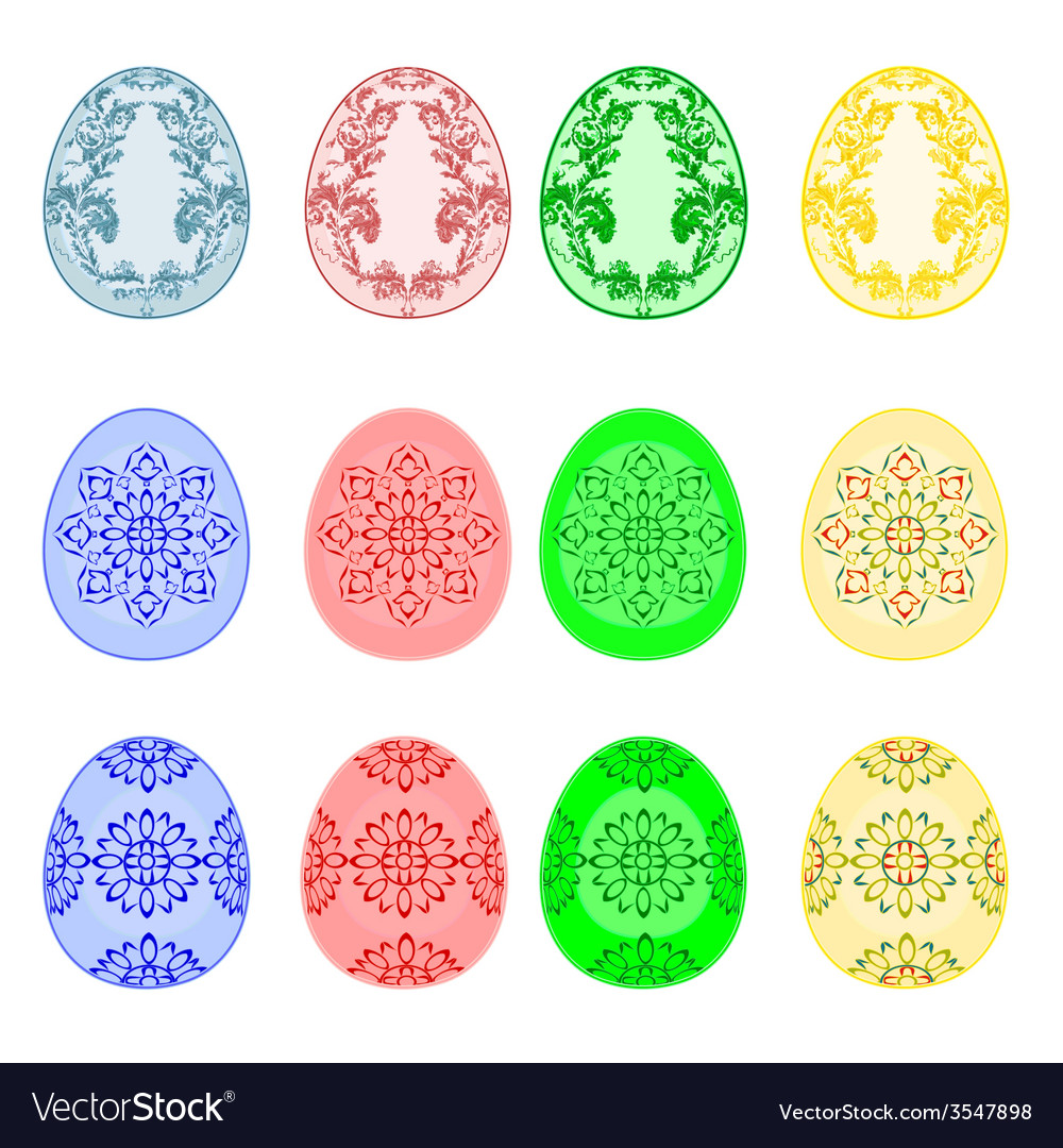 Decorated easter eggs set with ornamental pattern vector | Price: 1 Credit (USD $1)