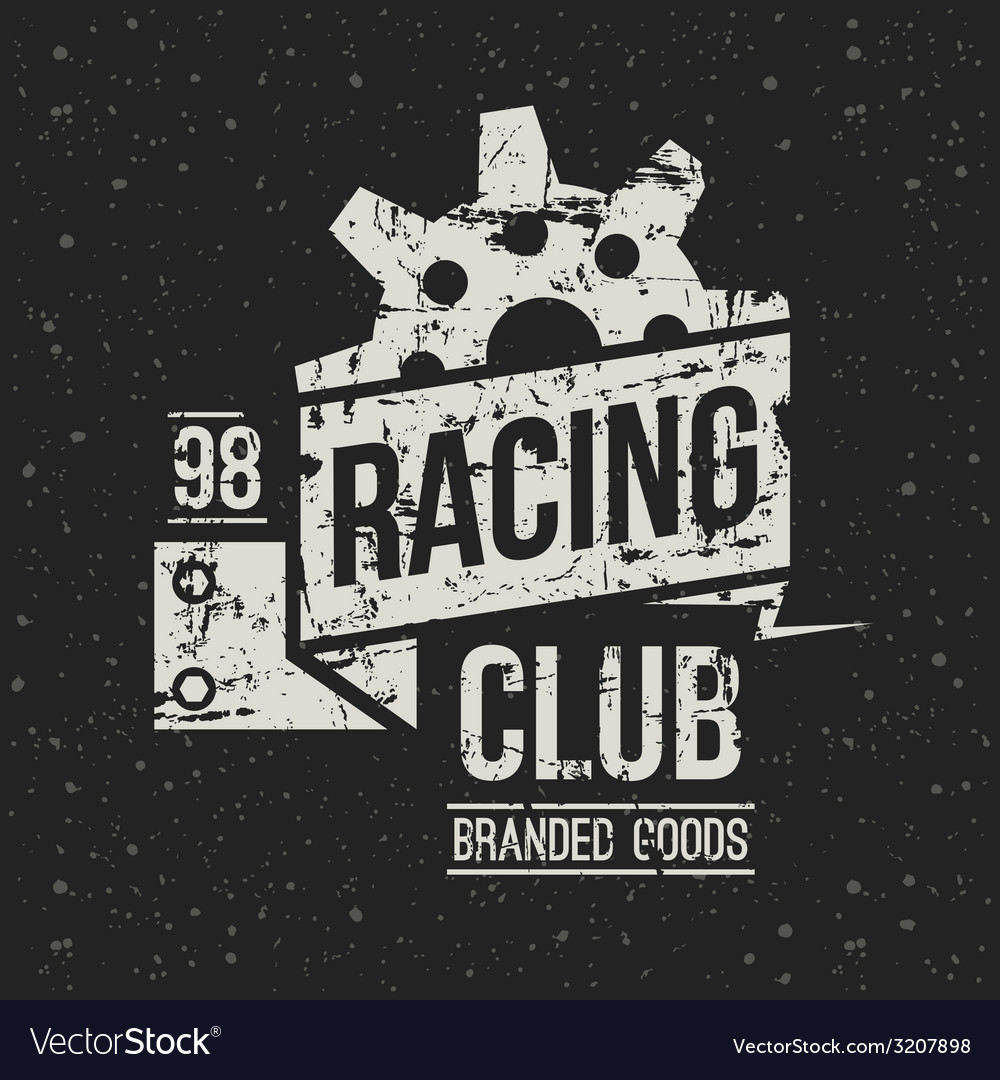 Emblem racing club in retro style vector | Price: 1 Credit (USD $1)
