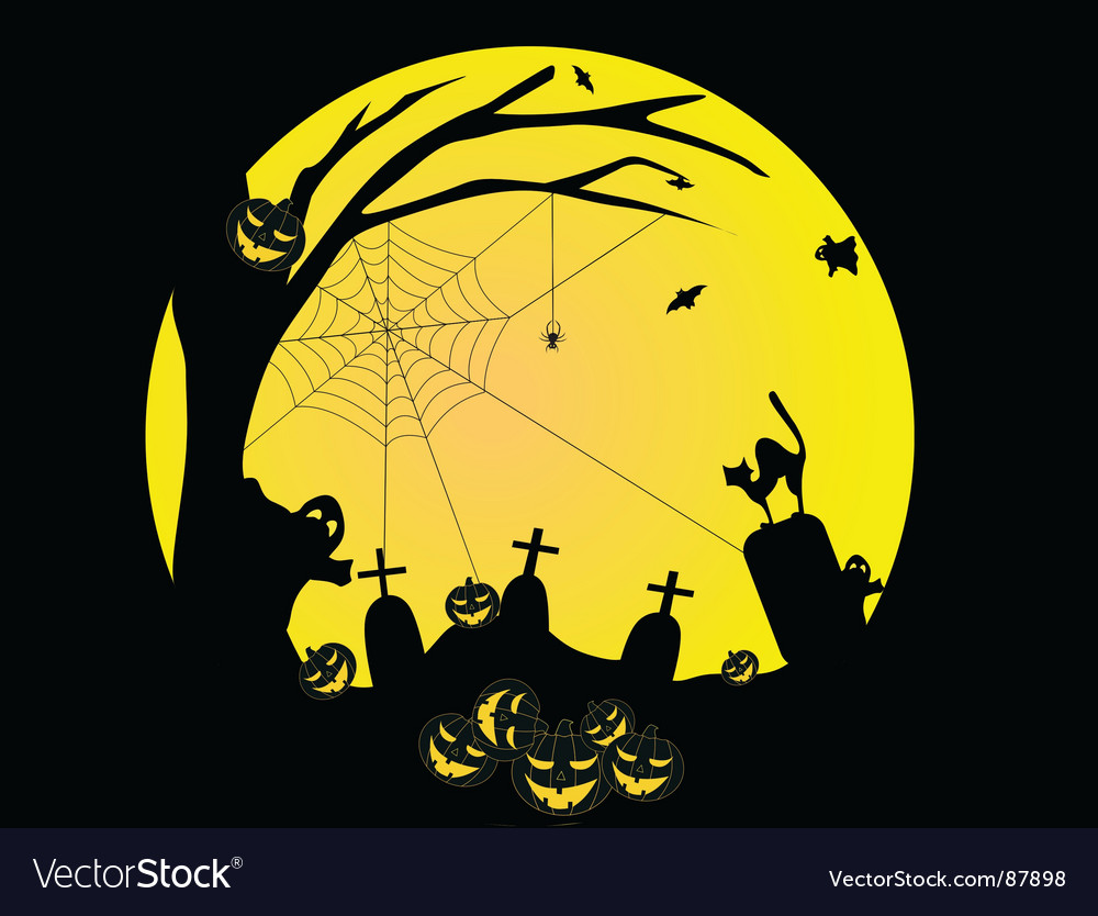 Halloween background with pumpkins bat vector | Price: 1 Credit (USD $1)