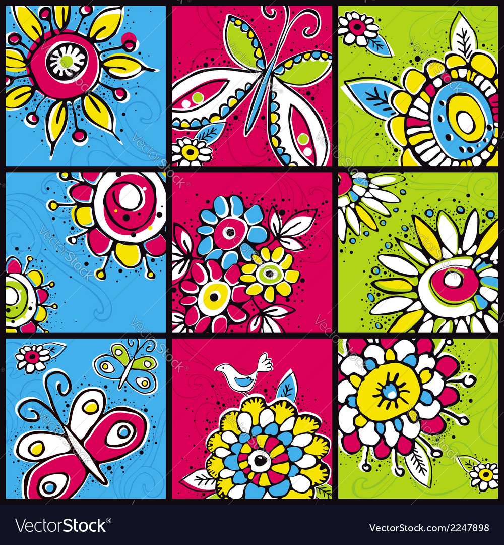 Hand draw flowers in color squares vector | Price: 1 Credit (USD $1)