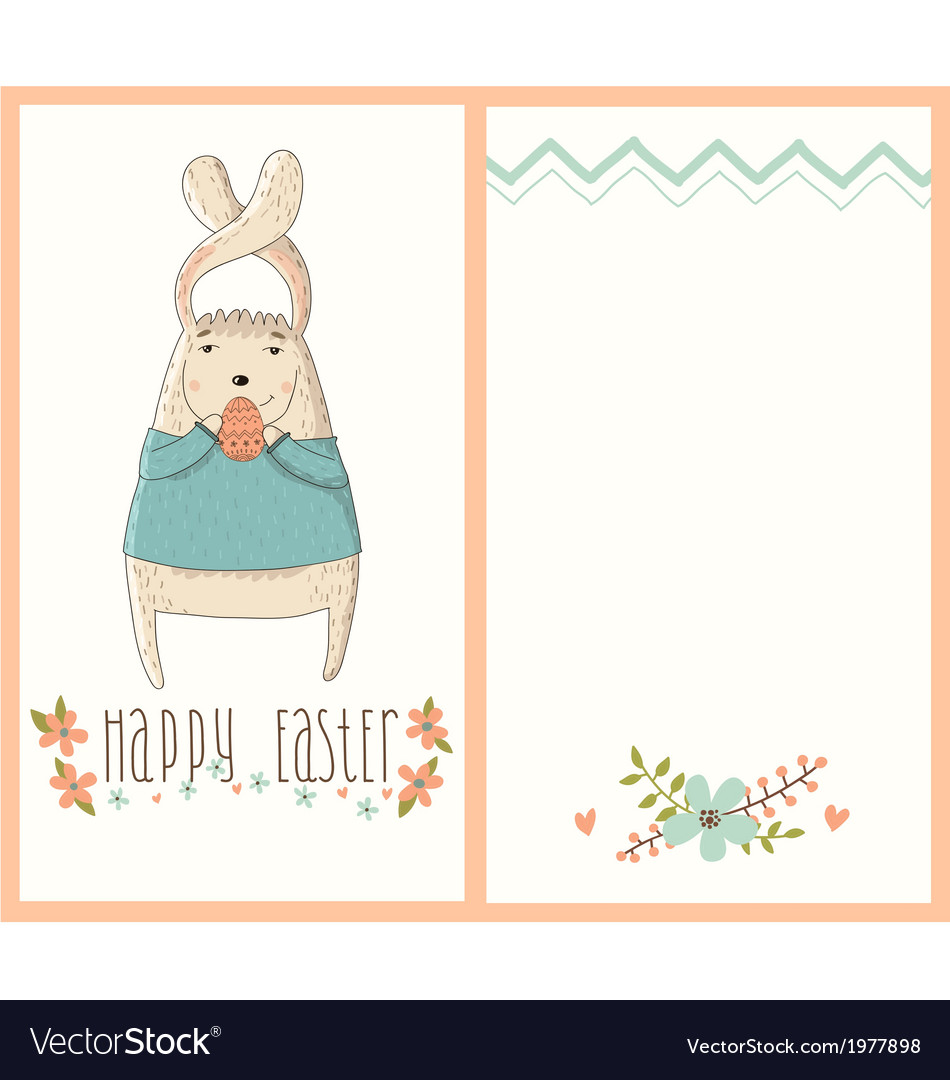 Happy easter card with cute bunny vector | Price: 1 Credit (USD $1)