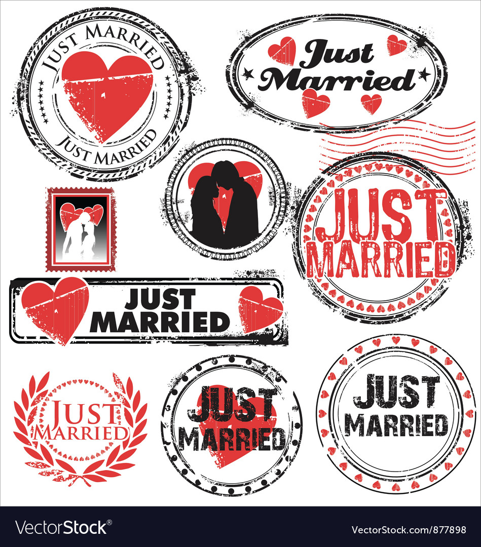 Just married stamps vector | Price: 1 Credit (USD $1)