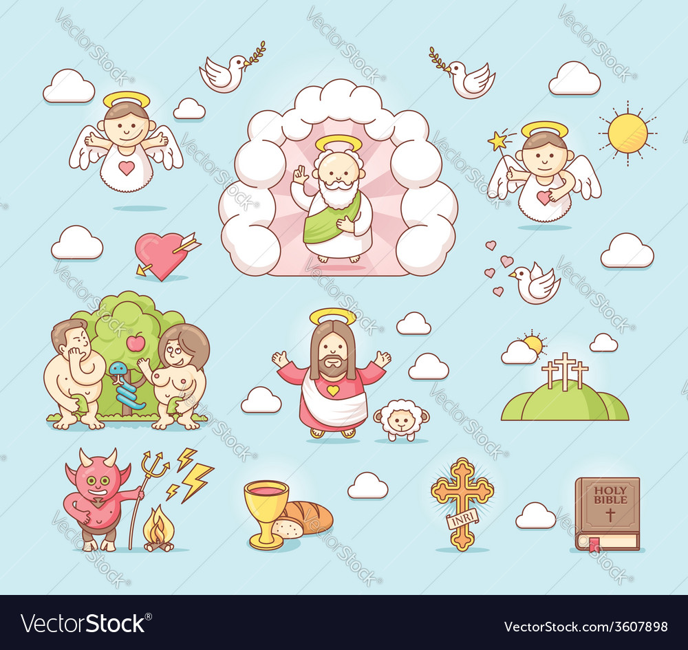 Religious icon set vector | Price: 1 Credit (USD $1)