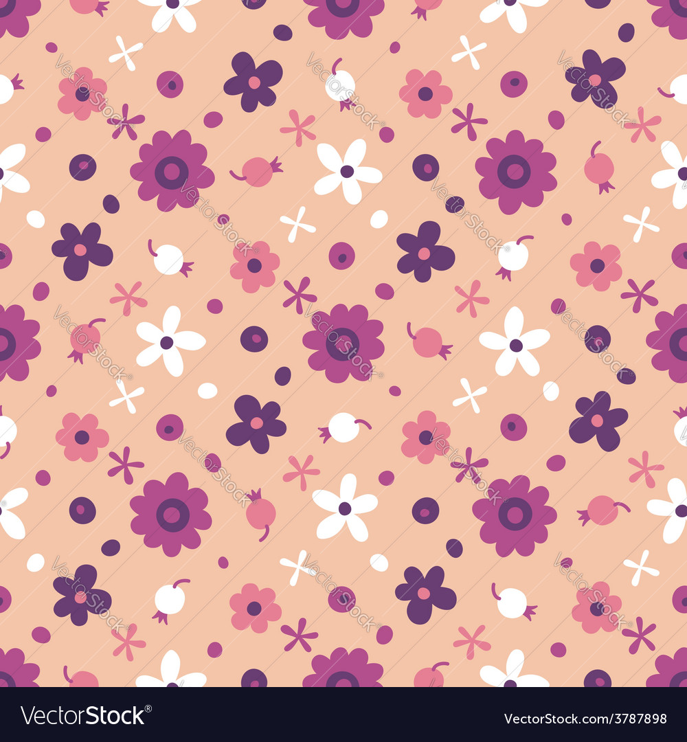 Seamless pattern with small flowers and berries vector   Price: 1 Credit (USD $1)