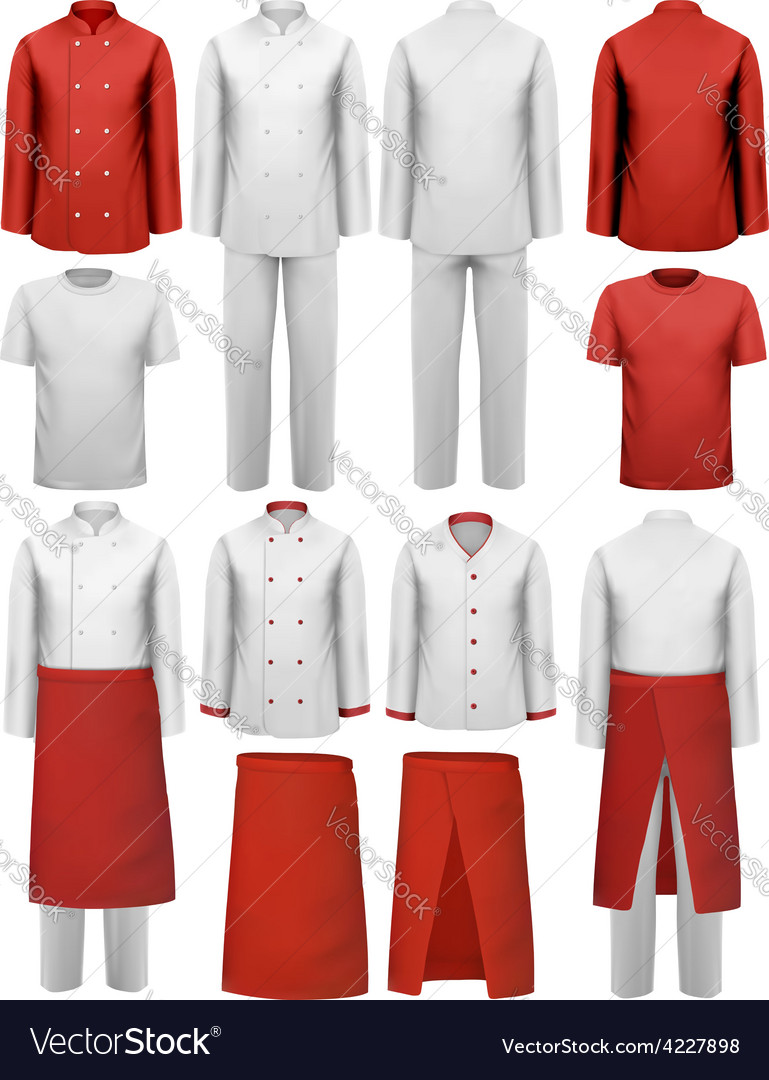 Set of cook clothing  aprons uniforms vector