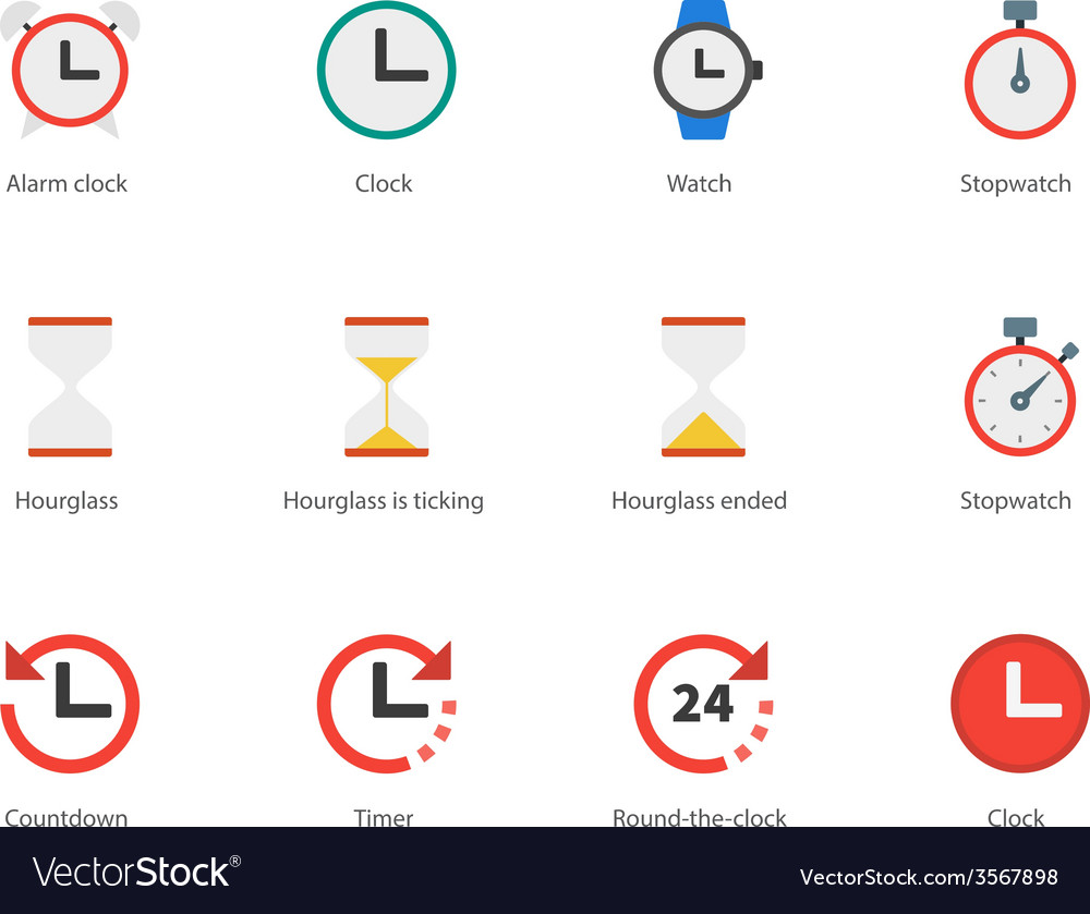 Time and clock color icons on white background vector | Price: 1 Credit (USD $1)