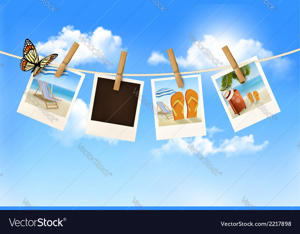 Vacation photos hanging on a rope vector | Price: 3 Credit (USD $3)