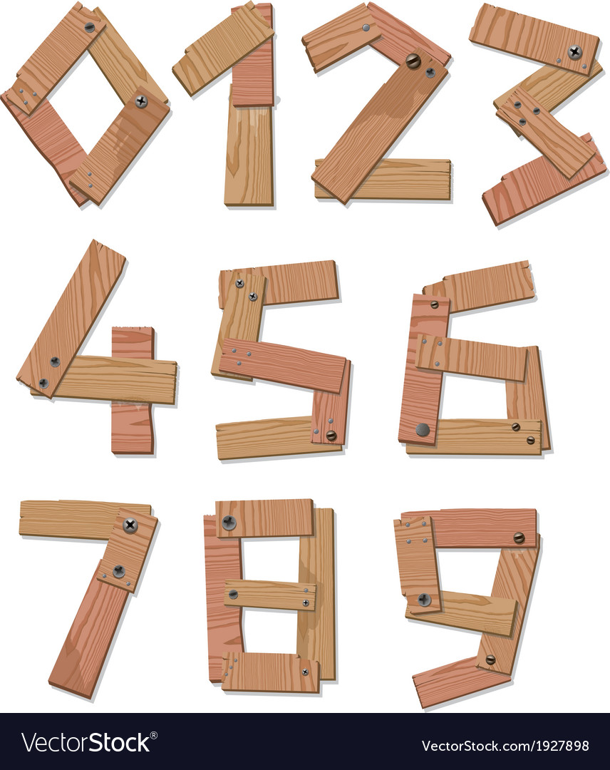 Wooden digits numbers vector | Price: 1 Credit (USD $1)