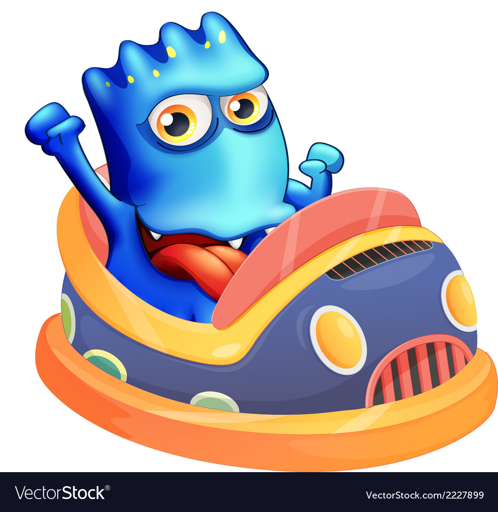 A bumpcar with a blue monster vector | Price: 1 Credit (USD $1)