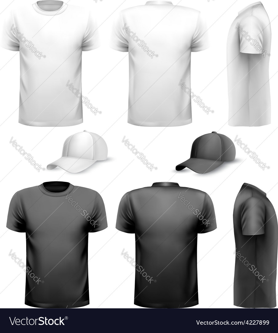 Black and white men t-shirt and cup design vector | Price: 1 Credit (USD $1)