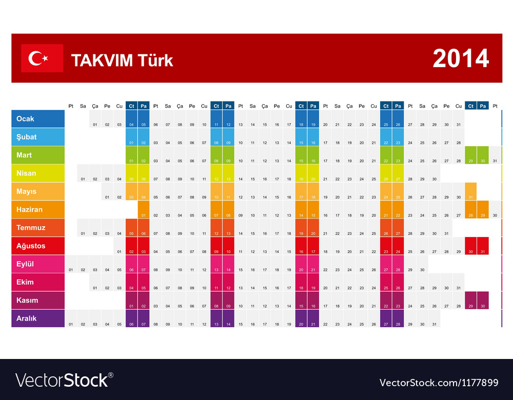 Calendar 2014 turkey type 14 vector | Price: 1 Credit (USD $1)