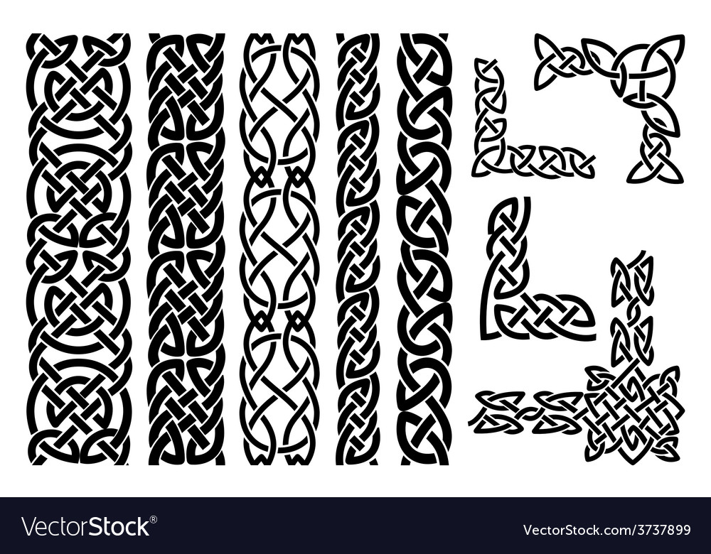 Celtic patterns and celtic ornament corners vector | Price: 1 Credit (USD $1)