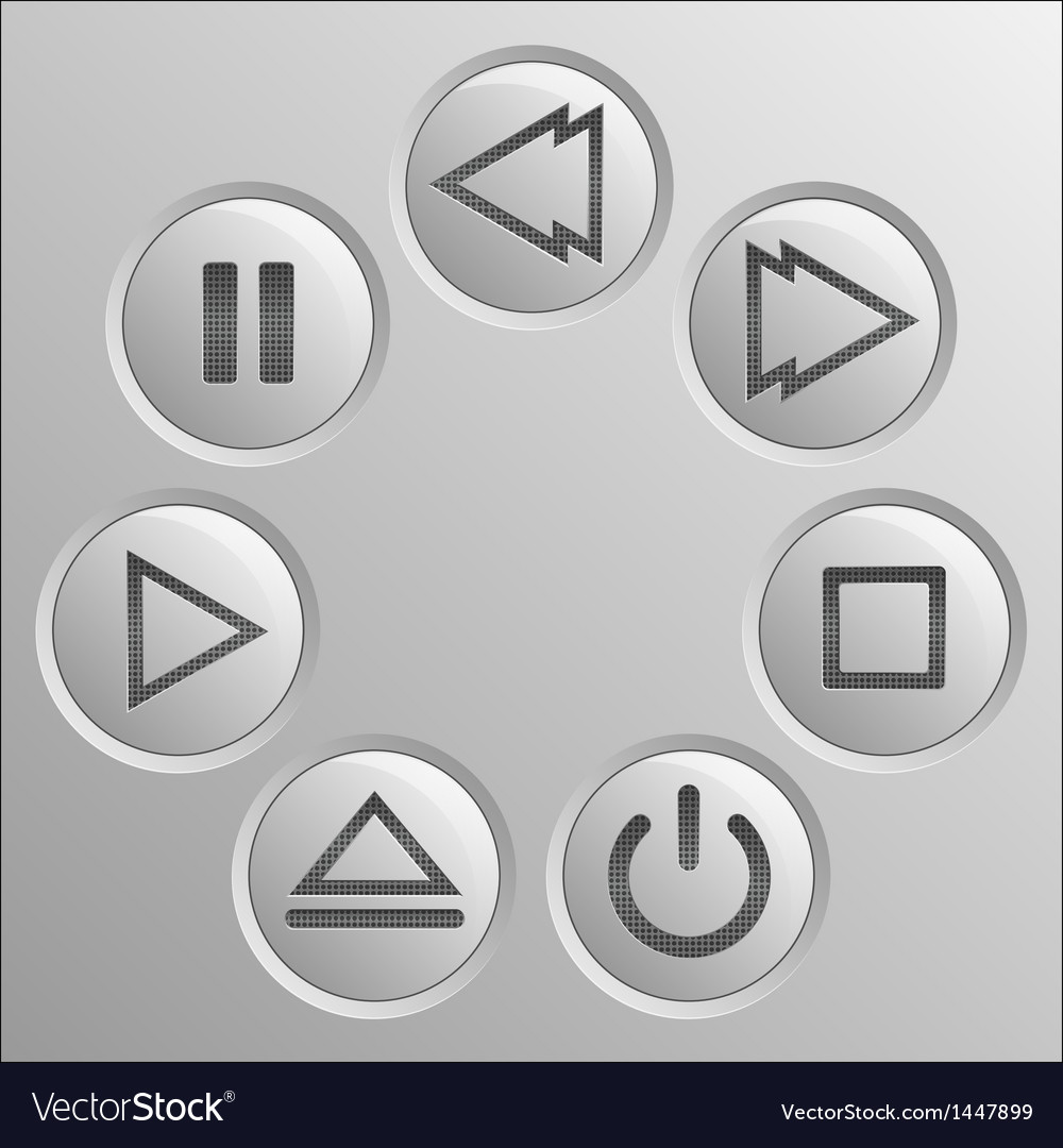 Gray navigation button player set vector | Price: 1 Credit (USD $1)