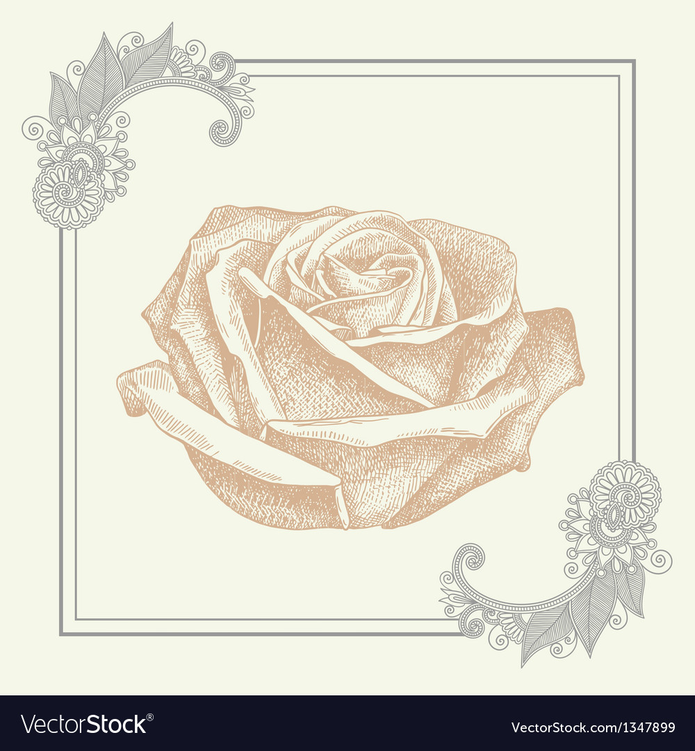 Ornate frame with sketchy drawing of rose flower vector | Price: 1 Credit (USD $1)