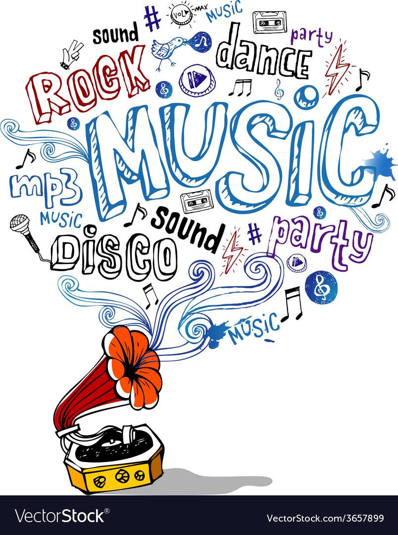 Retro gramophone and musical symbols vector | Price: 1 Credit (USD $1)
