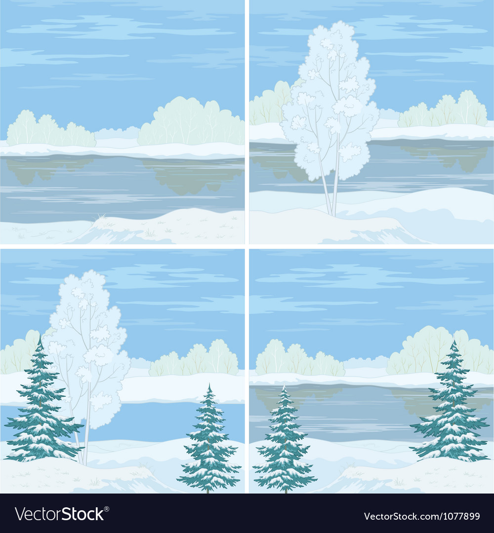 Set winter landscapes vector | Price: 1 Credit (USD $1)
