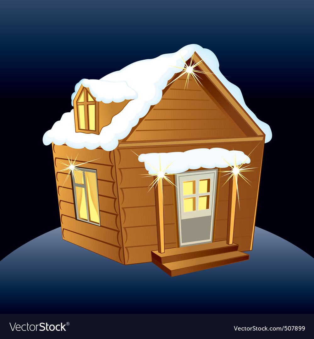 Snowy wooden hut vector | Price: 1 Credit (USD $1)