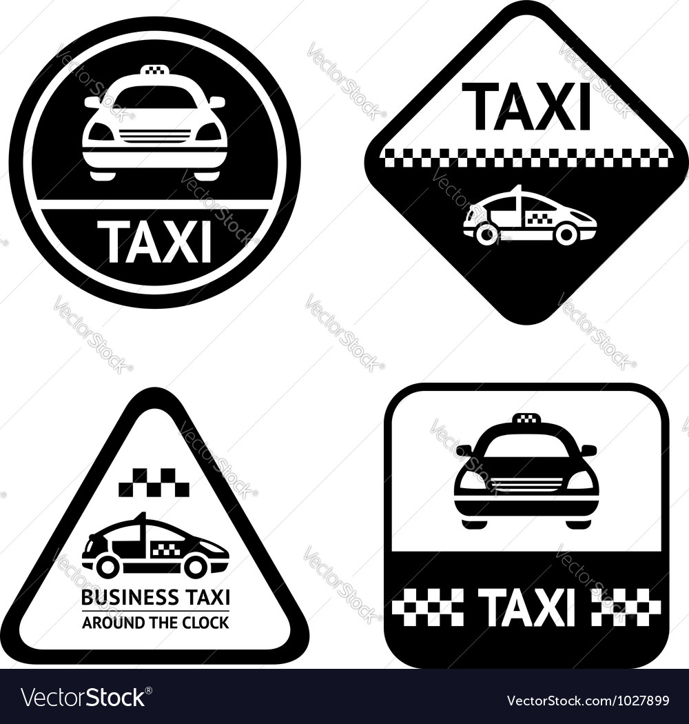 Taxi cab set black buttons vector | Price: 1 Credit (USD $1)