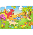 Cartoon dinosaur background vector