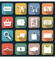 Shopping and trading flat icons vector