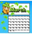 Calendar for march st patricks day vector