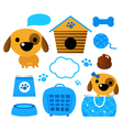 Dog accessories set isolated on white - blue vector