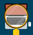 Modern laptop with magnifying glass vector
