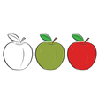 Apple outline green red vector