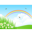 Landscape with a rainbow vector