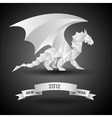 Dragon with banner new year 2012 origami vector
