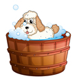 A brown bathtub with a dog taking a bath vector