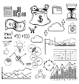 Hand draw doodle elements money and coin icon vector