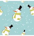 Seamless pattern with cute cartoon christmas snowm vector