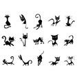 Cartoon black cat silhouettes vector