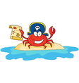 Pirate crab holding a treasure map on island vector